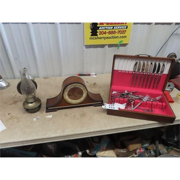 Mantle Clock, Coal Oil Lamp, & Case Flatwear