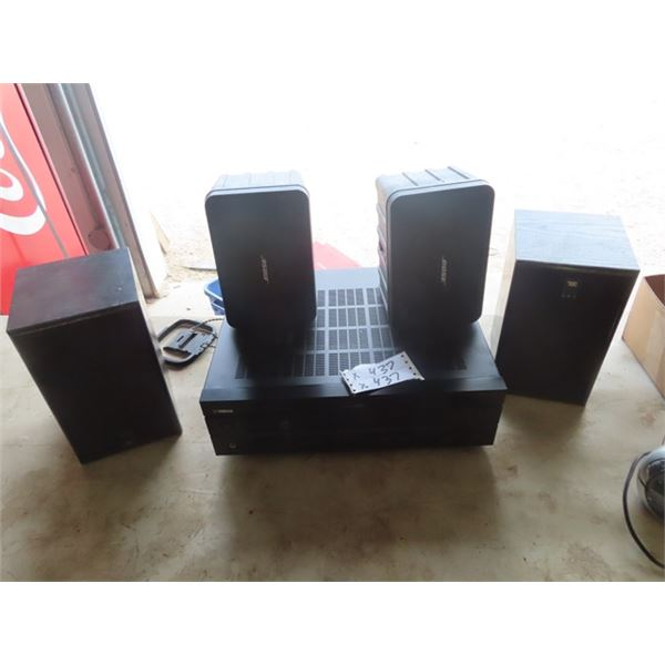 Yamaha Receiver RX-1430 w Set of Bose Speakers & JBL Set Speakers, Sony CD Changer, & JVC Double Cas