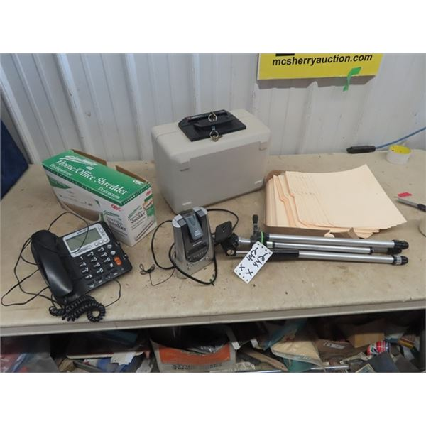 Sentry Lock Box w Key, Home/Office Paper Shredder Camera Tripod, & Telephone Plus