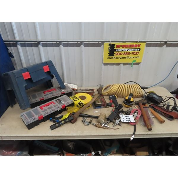 Tool Box / Organizers, Air Chuck, Air Tester, Odds & Ends Tools, Trickle Battery Charger, New Multi