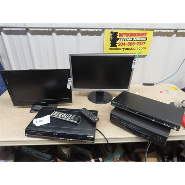 """2 Flat Screen TVs - RCA 19"""" & LG 22"""" , 2 DVD Players, 2 VCR Players"""
