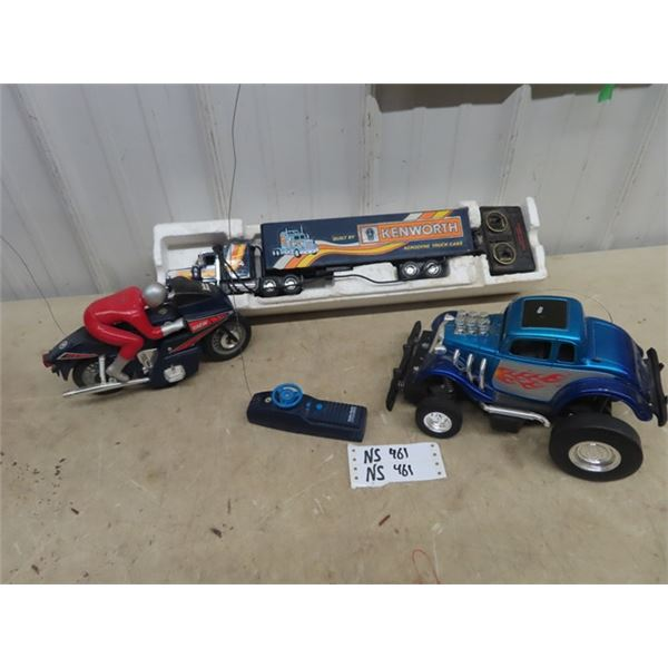 3 Toy RC Trucks & Motorcycles