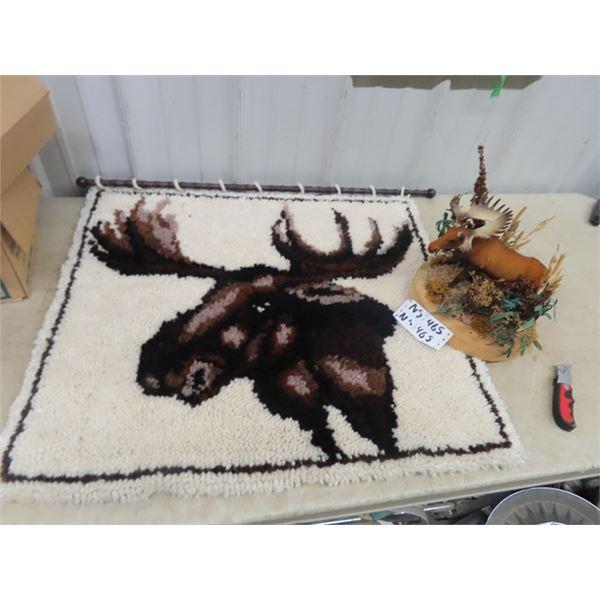 "Moose Rug Art, & Moose Ornament 28"" X 32"""