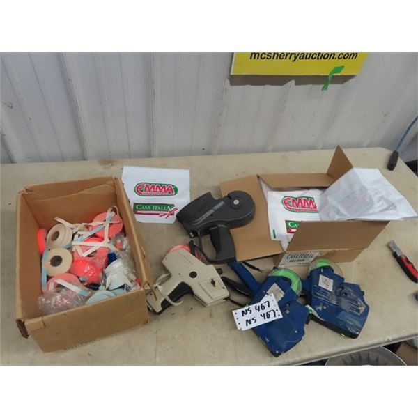 4 Store Pricing Guns, & Lables & Box o Rags