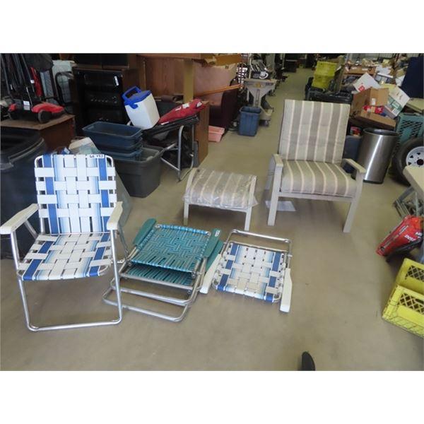 (WE) Patio Chair & Ottoman & 4 Folding Lawn Chair