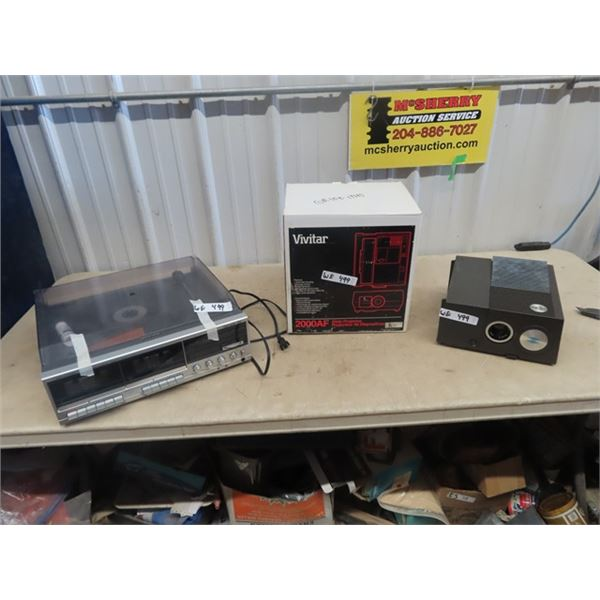 (WE) Realistic AM/FM Stereo Double Cassette Mdl Clarinette 122, New In Box Vivitar 2000 AF Slide Pro