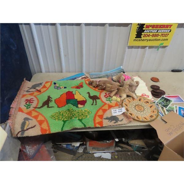 (WE) Austrailian Sovenir - Kangaroo Hide Stuffy, Rug Art, Calenar Plate, Plus More