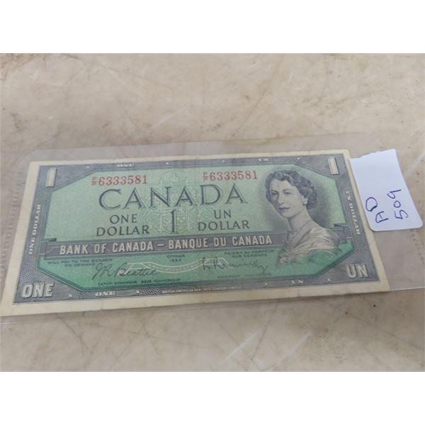 1954 Cdn 1 Dollar Bill
