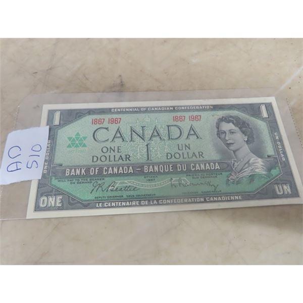 1967 Cdn 1 Dollar Bill