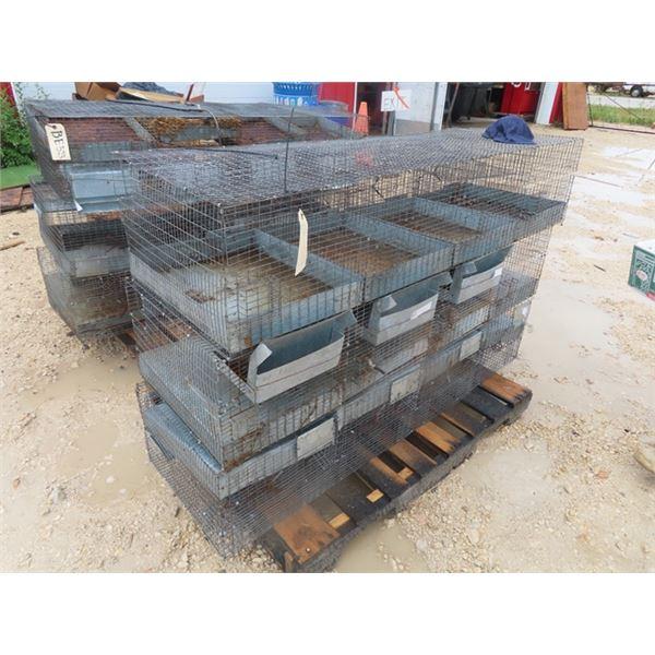 """(BE) 3 - 4 Pen Rabbit/Poultry Cages 60"""" X 12"""" x 18"""""""