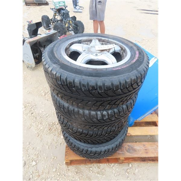4 Tires 205/65 R15 Champion Ice Pro Tires with 4 Rims Only 2 Are Good , 2 Rims are Cracked