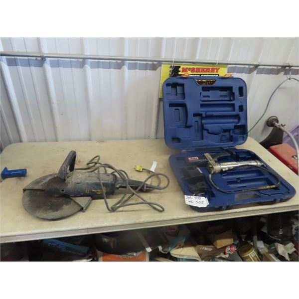 Lincoln 7.2 V Greaser, Machine Case Charger, No Batteries, & Power Super Quickie Cut off Saw- Cuts I
