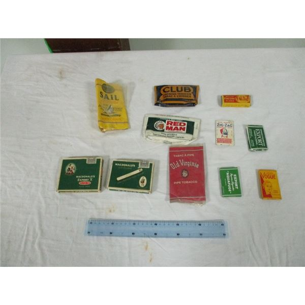 Collection of vintage tobacco packages
