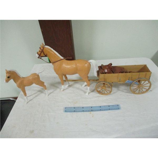 Johnny West plastic horses & wagon