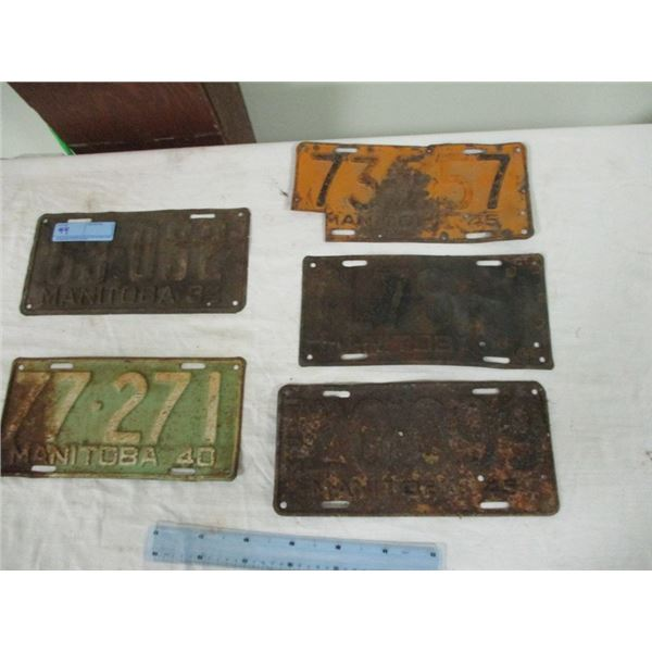 5 Manitoba licence plates from 30's & 40's (various conditions)