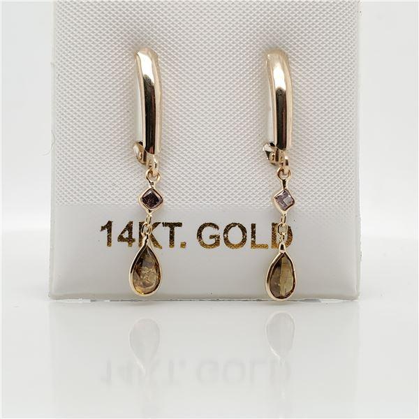 10K FANCY COLOR DIAMOND(0.55CT) DIAMOND(0.3CT) EARRINGS
