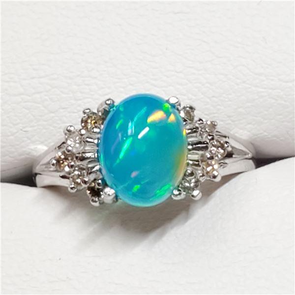 10K BLUE OPAL(1.55CT) DIAMOND(0.1CT) RING SIZE 6