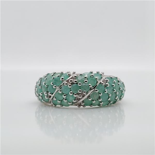 SILVER EMERALD(1.2CT) RING SIZE 6.75