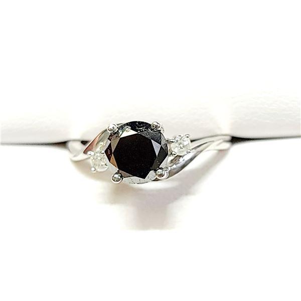10K  BLACK DIAMOND(1.78CT) DIAMOND(0.08CT) RING SIZE 7