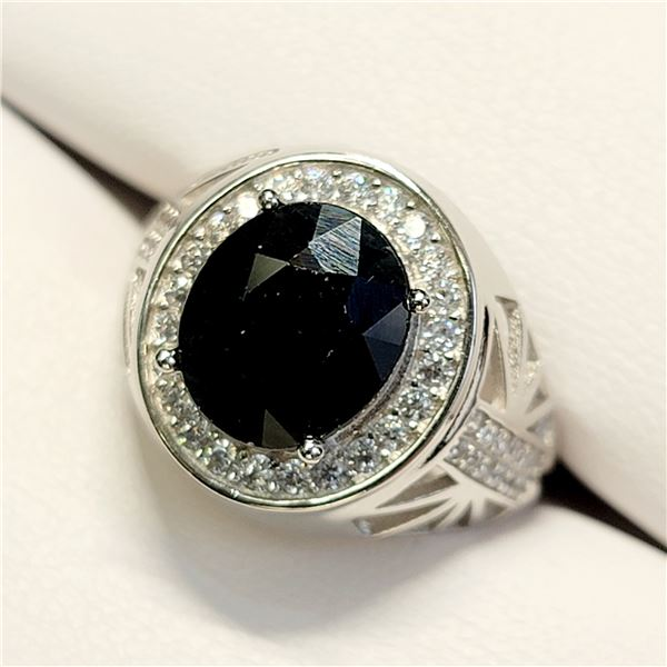 MENS SILVER SAPPHIRE(3CT) RING SIZE 9
