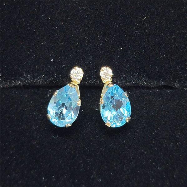 10K  BLUE TOPAZ(1.5CT) MOISSANITE(0.06CT) EARRINGS