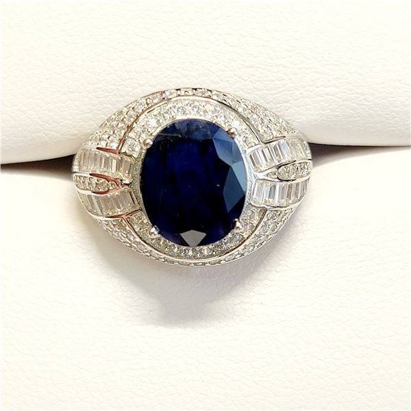 MENS SILVER SAPPHIRE(4.15CT) RING SIZE 10