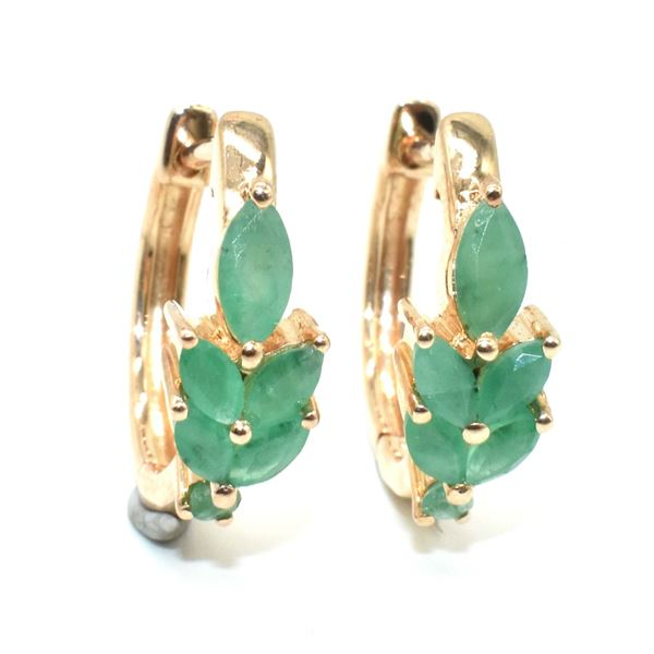ROSEGOLD PLATED SILVER EMERALD (3.9CT) EARRINGS