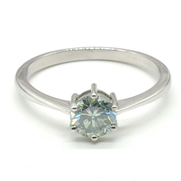 SILVER BLUE MOISSANITE (ROUND 6 MM)(2.2CT) RING SIZE 10