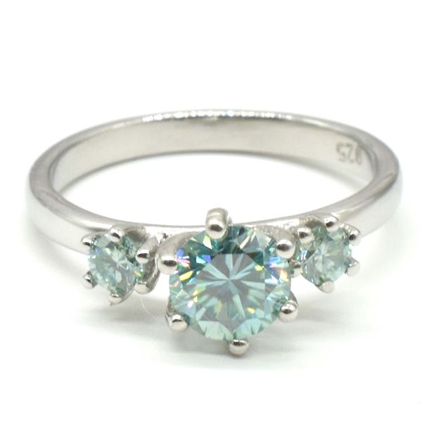 SILVER BLUE MOISSANITE (ROUND 6 & 3 MM)(2.4CT) RING SIZE 7