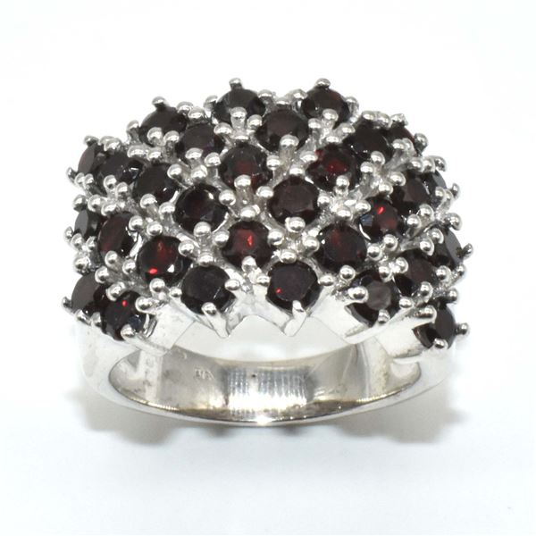 SILVER  RED GARNET(9.95CT) RING SIZE 6