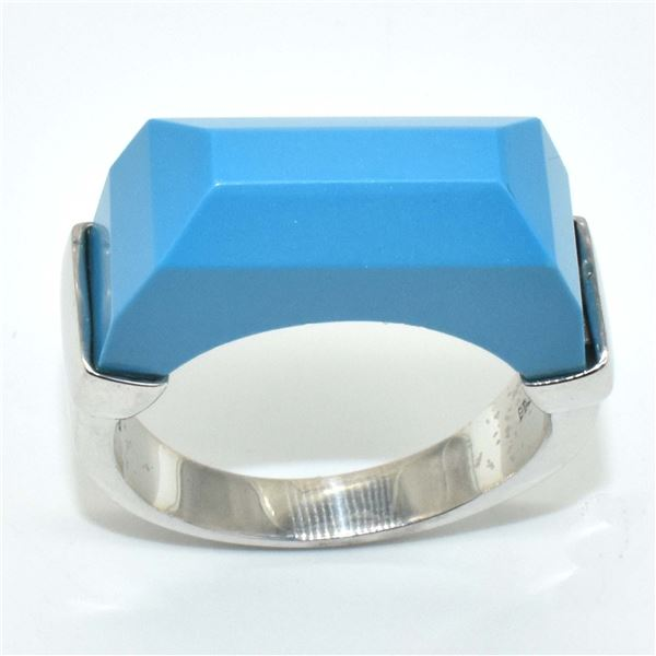 SILVER SYNTHETIC TURQUOISE(6.7CT) RING SIZE 8