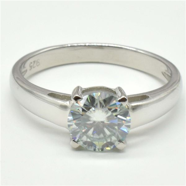 SILVER MOISSANITE (ROUND 7.5 MM)(3.3CT) RING SIZE 10