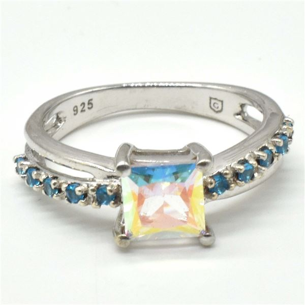 SILVER AZOTIC TOPAZ CZ(3.1CT) RING SIZE 7