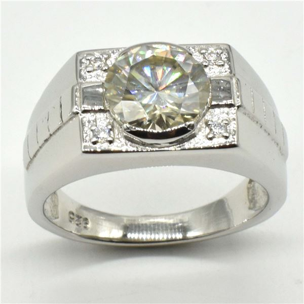 SILVER MOISSANITE ( ROUND 10 MM)(7.6CT) RING SIZE 10