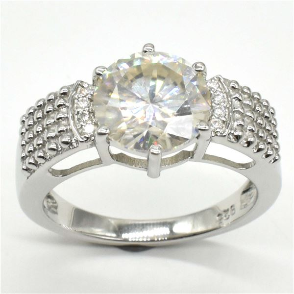 SILVER MOISSANITE ( ROUND 11 MM)(6.4CT) RING SIZE 10