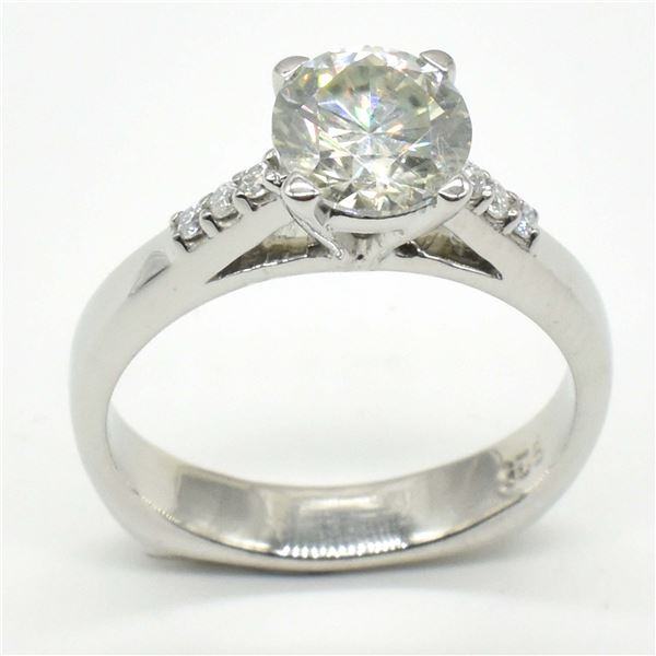 SILVER CERTIFIED MOISSANITE ( ROUND 7 MM)(4.05CT) RING SIZE 6.5