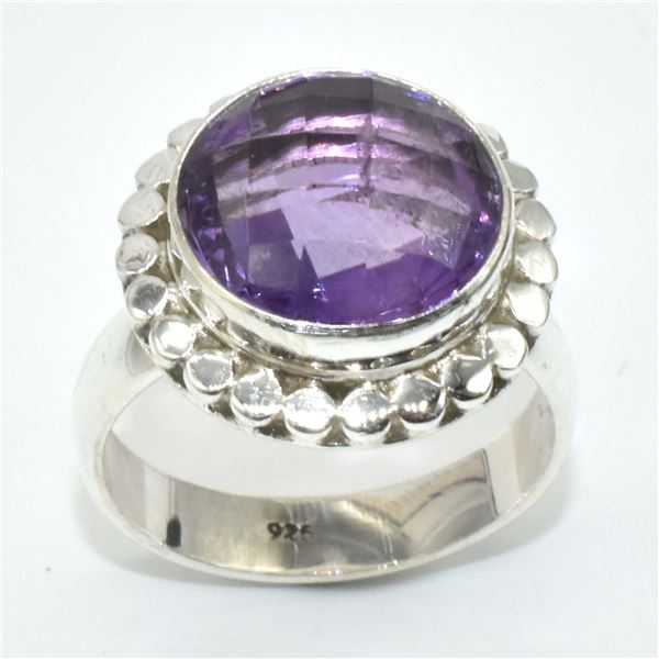 SILVER AMETHYST(6.1CT) RING SIZE 6.5