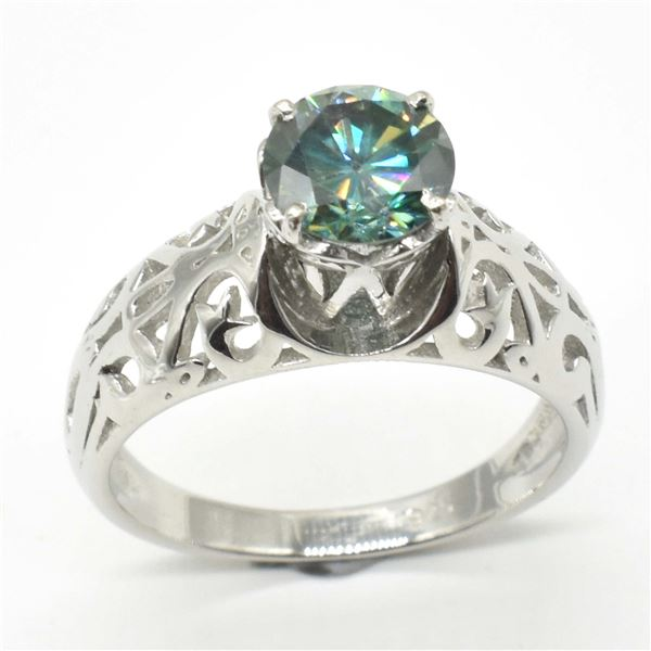 SILVER BLUE MOISSANITE ( ROUND 6.5 MM)(3.4CT) RING SIZE 6.5