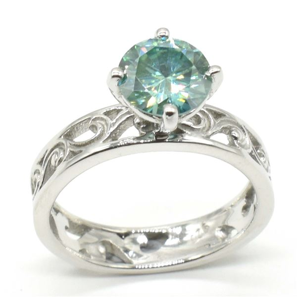 SILVER BLUE MOISSANITE ( ROUND 7 MM)(3.45CT) RING SIZE 7
