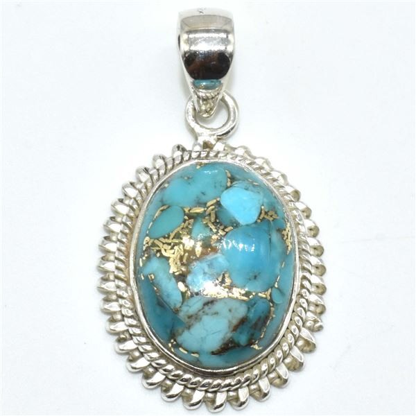 SILVER COPPER MUHAVE TURQUOISE (RECONSTITUED)(5.85CT) PENDANT
