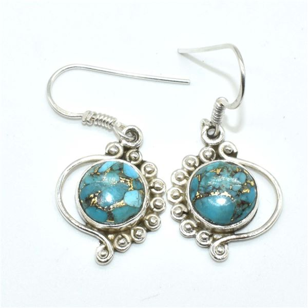 SILVER COPPER MUHAVE TURQUOISE (RECONSTITUED)(5.35CT) EARRINGS