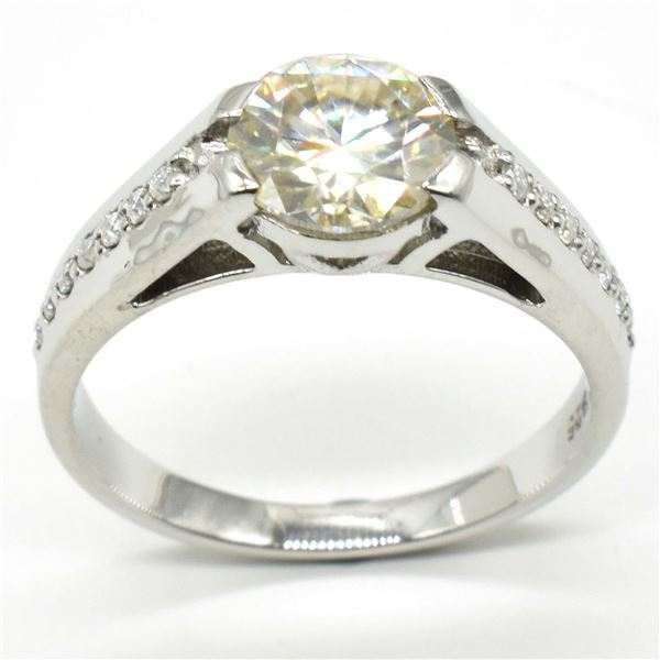 SILVER CERTIFIED MOISSANITE ( ROUND 8 & 1.5 MM)(5.05CT) RING SIZE 9.5
