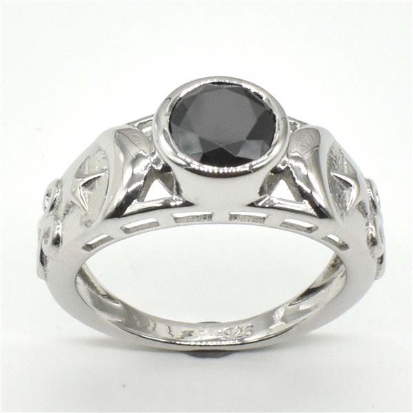 SILVER CERTIFIED BLACK MOISSANITE ( ROUND 7.5 MM)(4.2CT) RING SIZE 7