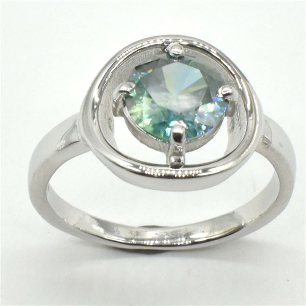 SILVER GREENISH BLUE MOISSANITE (ROUND 7.5 MM)(3.1CT) RING SIZE 7