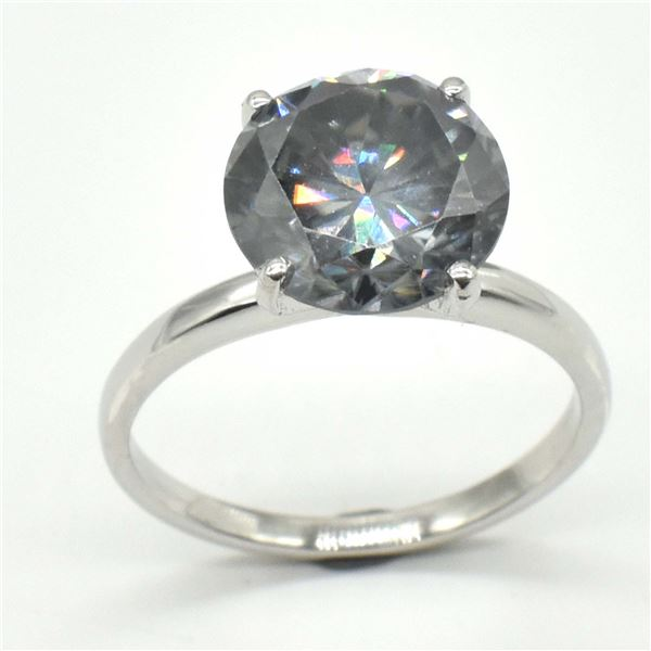 SILVER CERTIFIED GREY MOISSANITE (ROUND 9.5 MM)(3.4CT) RING SIZE 7