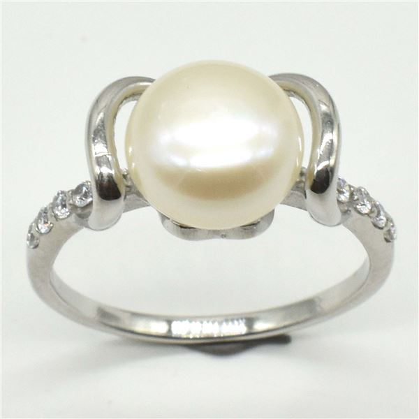 SILVER PEARL CZ(3.1CT) RING SIZE 7.5
