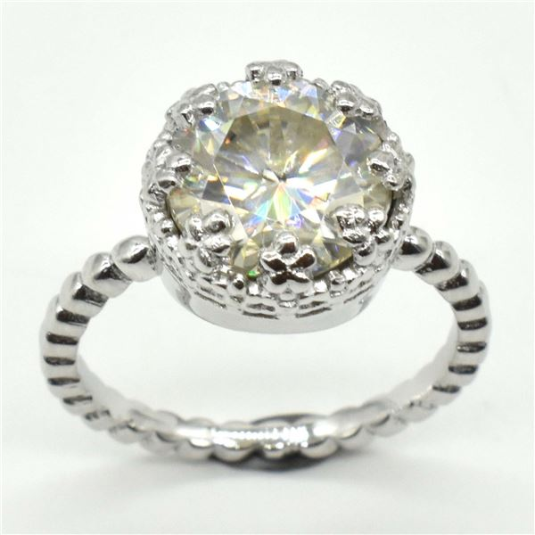 SILVER MOISSANITE(ROUND 10 MM)(3.85CT) RING