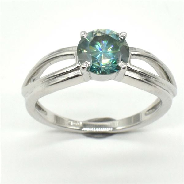 SILVER GREENISH BLUE MOISSANITE(ROUND 6.5 MM)(2.6CT) RING SIZE 7