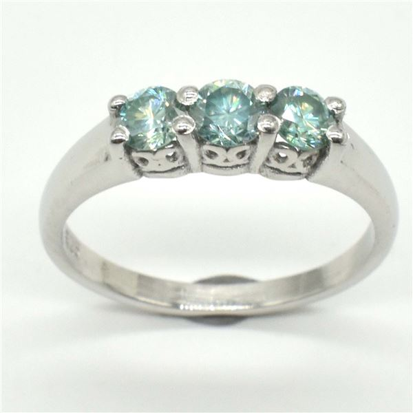 SILVER MOISSANITE (ROUND 4 MM)(2.45CT) RING SIZE 7