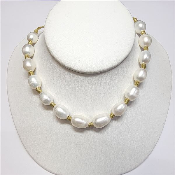 """SILVER F.W. PEARLS NECKLACE 16"""""""